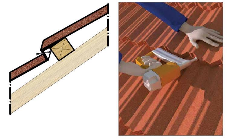 Схема крепления гвоздей в композитной металлочерепице